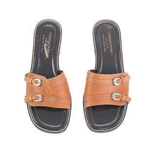 Donald J Pliner Italian Brown Leather Sandals